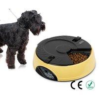 mostrar perros al por mayor-6 Comida Inteligente Automático Pet Lcd Display Dispensador de Perro Temporizador Grabador Tazón Recordatorio de Alimentos Cat Feeder Q190523