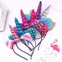europäisches haar zum verkauf großhandel-Heißer verkauf Europäischen und Amerikanischen Unicorn Symphony Cat Ears Horn kinder Stirnband Party Festliche Headwear Haarbögen