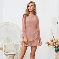 Wholesale chiffon color types for sale - Group buy 2019 Spring And Summer Pure color Slim Fit Bind Dress Ruffle Chiffon Material Casual Type Fashionable Dress