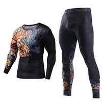 Wholesale plus size compression sleeves for sale - Group buy Tracksuits Plus Size Skinny Men Compression Polyester Two Piece Set Funny T Shirt Fashion Full Men Suits