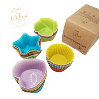 Wholesale rainbow cups resale online - Shipping From US Silicone Baking Reusable Cupcake Liners Non stick Muffin Cups Cake Molds Packs in shapes Rainbow Colors