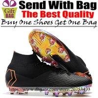 calcetines de fútbol negro naranja al por mayor-Barato Original para hombre Mercurial Superfly VI ACC Tacos de fútbol AG Calcetines Botas de fútbol Zapatillas de deporte Al aire libre Zapatos de fútbol top negros Negro