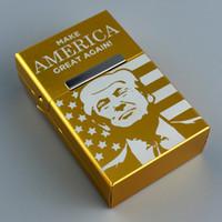 lasergravierte boxen großhandel-Flip Cover Case Magnet Aluminium Trump Box machen Amerika groß wieder Buchstaben Metall Aufbewahrungsboxen Lasergravur Party Favor 8 5dy Ww