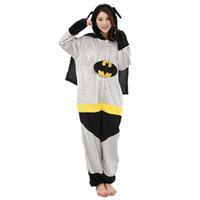 ingrosso uomini del costume del batman-Adulto Anime Batman Superman Kigurumi Onesies Costume Per donna Uomo Divertente Caldo Morbido Animale Carino Onepieces Pigiama Home Wear Girl