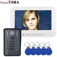telefone de interfone com fio venda por atacado-SmartYIBA Vídeo Intercom 7''Inch Monitor Wired Video Porteiro Visual Speakephone Intercom Doorbell Kit de Câmera de Senha RFID
