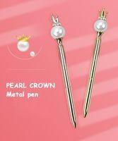 Wholesale pen crown resale online - Custom Pearl Crown Pen Metal Ballpoint Pen Gift Ballpoint Wedding Birthday Gift Engraved Name Novelty Pens