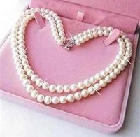Wholesale green fresh water pearl online - Exquisite rows mm white fresh water culture akoya pearl necklace quot