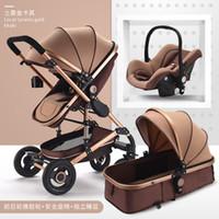 sistemas de asiento al por mayor-Cochecito de bebé de lujo 3 en 1 con asiento de coche 0-3Y Altos cochecitos del paisaje para recién nacidos Sistema de viaje Plegable de carro de carro Caminante