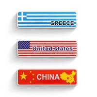 ingrosso usa bandiera della porcellana-Lega di alluminio Nazionale Emblem Stickers CINA USA UE GIAPPONE VIETNAM Grecia Paese personalizzate bandiere auto autoadesivi di marchio di 10x2.5cm