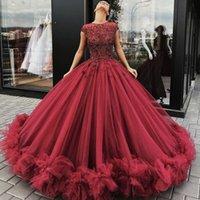 arabische kleider myriam tarife großhandel-2019 Plus Size Red Tüll Ballkleid Abendkleid Ärmellos Arabisch Dubai Formelle Abendkleider Myriam Fares Partykleider für besondere Anlässe