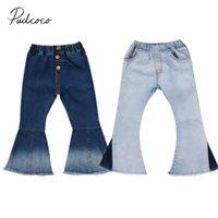 ingrosso jeans a colori per bambine-2018 Brand New Toddler Infant Bambino Bambini Neonate Denim Bell-Bottom Pantaloni lunghi Hit Colore Jeans gamba larga Pantaloni 2-7T