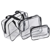 conjunto de bolsa de viaje cosmética al por mayor-Crystal Clear Waterproof Cosmetic Bag Travel Set de artículos de tocador con cremallera PVC Maquillaje Bolsa Manija Correas para mujeres Hombres Organizador Estuche wholes