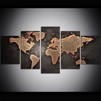 ingrosso mappe di pitture a olio-5 pezzo di grandi dimensioni tela wall art old world map pittura a olio di arte della parete immagini per soggiorno dipinti decorazione della parete