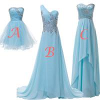 robe de soirée en mousseline de soie achat en gros de-Demoiselle d'honneur bleu ciel clair robes Real Image Une ligne encolure mélangée plis en mousseline de soie Cristaux Perles Soirée Prom robes de BC1780