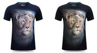 Discount lion king 3d shirt New 3D Lion King Stereographic Short-sleeved Men's T-shirt with Overbearing Personality and Round-collar T-shirt with Large Size in 2019