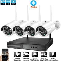 sistema de seguridad cctv inalámbrico al por mayor-Sistema de CCTV 4 canales inalámbricos de audio 1080P 2.0MP NVR 4PCS IR exterior P2P del IP de Wifi de seguridad CCTV Kit de Sistema de Vigilancia de la cámara