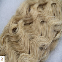 saç uzatma atkı parçaları toptan satış-Brezilyalı Vücut Dalga Saç Uzatma% 100% İnsan Saç Dokuma 6a Çift Atkı Saç Örgü 1 Parça # 27 Çilek Sarışın Renk