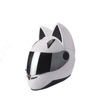 ingrosso casco moto nero giallo-Casco moto NITRINOS integrale con le orecchie di gatto nero bianco rosa giallo multicolore