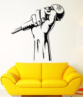Wholesale kids music wall stickers for sale - Group buy Vinyl Wall Decal Microphone Hand Wall Sticker Karaoke Club Decoration Rap Battle Singer Window Art Mural Music Wallpaper