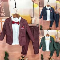Wholesale kids tuxedo set for sale - Group buy 2019 New Kids Plaid Wedding Blazer Suit Brand Flower Boys Formal Tuxedos School Suit Kids Spring Clothing Set