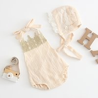Wholesale hat band baby for sale - Group buy Newborn Baby Girl Jumpsuits Kids Designer Clothes Girl Crown Lady Sleeveless Binding Band Hat Triangular Climb Rompers
