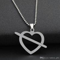 halskette symbol herz großhandel-1 stücke edelstahl liebe auf den ersten blick symbol liebe herz pfeil halskette herzform liebe amor pfeil hohl herzförmige charme halskette