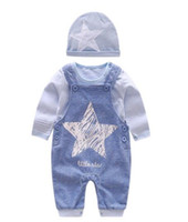 Wholesale kids clothes online - baby boy Kids Piece Sets Clothing Baby Spring round collar Long sleeve Shirt romper pant Hat Spring fall boy clothing sets