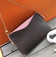 carteras cluth diseñador al por mayor-Nuevo Clásico Diseñador Cluth Impresión Flores Bolsas de Cadena de Cuero Real Tarjeta Monedero Crossbody Monedero Mujeres Hombro Mensajero Diseñador Bolso