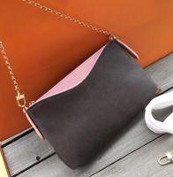 cluth çanta toptan satış-Yeni Klasik Tasarımcı Cluth Baskı Çiçekler Zincir Çanta Gerçek Deri Cüzdan Kart Crossbody Çanta Kadın Omuz Messenger Tasarımcı Çanta