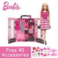 ingrosso barbie girl dresses-Barbie Fashion Dolls Dream Guardaroba e vestiti in stoffa Toy Limited Collection Regalo di compleanno Barbie Boneca DKY31 For Girl