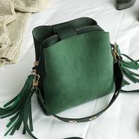 Wholesale handbags rack resale online - Fashion handbag Peeling Women Bucket Bag Vintage Rack Hanger Bag High Quality Retro Shoulder Simple Hanger sac a main