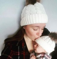 Wholesale kids fur pompom hats for sale - Group buy Parent child Cap Winter Knitted Hat Mom Baby Hats Warm Fur Bobble Beanie Wool Pompom Hat Kids Wool Caps style GGA2922