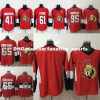 Wholesale blank hockey jerseys sale resale online - Hot sale New Brand Ottawa Senators Mens Anderson Stone Duchene Karlsson Blank Red S XL Ice Hockey Jerseys Cheap