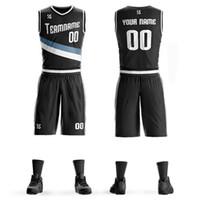 yuvarlak yaka takım toptan satış-Toptan gevşek yuvarlak boyunluk yaz baskı rahat erkek kolsuz kısa basketbol rahat takım elbise düz renk tasarım giyim