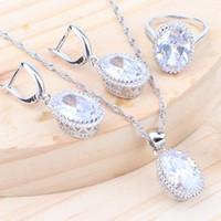 ingrosso set gioielli in argento dei bambini-Wedding Bridal Women Silver 925 Set di gioielli Zirconia Kids Costume Jewelry Anello Orecchini Collana pendente Set di gioielli