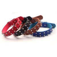 Wholesale spiked dog collars medium resale online - New Pet Dog Rivet Collar Special Cool Wolf Teeth Spike Pet Dog Collar PU Chain Medium for Large Traction Supplies