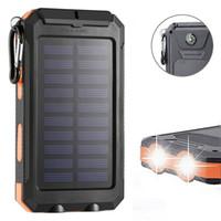 güç bankası bateria externa toptan satış-Su geçirmez Güneş Enerjisi Banka 10000 mah Güneş Pil Şarj Bateria Externa LED Işık Pusula R0117 Ile Taşınabilir Şarj Powerbank