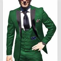 chaleco slim fit formal al por mayor-2018 setwell Traje de hombre Slim Fit 3 unidades Trajes de esmoquin Chaqueta Tux Chaleco Pantalones Set para la boda trajes de fiesta formal