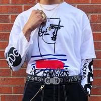 самые короткие джинсовые шорты оптовых-19SS коробка логотип X Жан тройник граффити пару хип-хоп мода Мужчины Женщины свободного покроя улица скейтборд с коротким рукавом летом тройник HFLSTX390