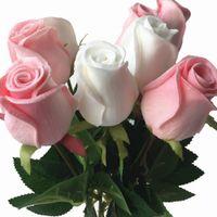 schwarze lila rosen großhandel-11p Real Touch Rose Blume Rosa / Blau / Schwarz / Rot / Gelb / Lila PU Rosen Künstliche Rose 43cm für Hochzeit dekorative Blumen