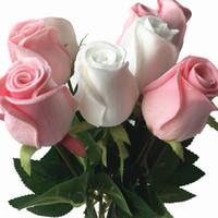 ingrosso rose rosse rosa gialle-11p Real Touch Rose Flower Rosa / blu / nero / rosso / giallo / viola Rose artificiali Rose 43cm per fiori decorativi per feste di nozze