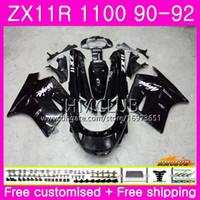 91 kawasaki ninja zx 11 großhandel-Gehäuse für KAWASAKI NINJA ZZR-1100 ZX-11R ZZR 1100 ZX11R 90 91 92 51HM.1 ZZR1100 ZX11R ZX-11R ZX11R 1990 1991 1992 Verkleidung Schwarz glänzend