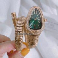 anneau de lunette de quartz achat en gros de-Nouveau Serpenti Tubogas 101924 SP35C6GDD.1T Cadran Vert Montre Suisse À Quartz Pour Femmes18K Bracelet En Acier Or Jaune Bracelet Lunette Sertie De Diamants Montres Lady