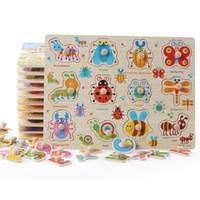 montessori hayvan oyuncağı toptan satış-Bebek Oyuncakları Montessori ahşap Bulmaca / El Kepçe Kurulu Set Eğitici Ahşap Oyuncak Karikatür Araç / Deniz Hayvan Bulmaca Çocuk hediye