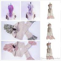 4 Colors AMUSE 2 in 1 unicorn scarf cap Kids Infant Llama Warm Knitted Hats Children cartoon warmer Winter crochet Hat DHL