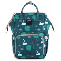 ayı torba toptan satış-Çok fonksiyonlu Mumya Sırt Çantaları 20 Tasarım Ananas Kuğu Çiçek Koyun Flamingo Unicorn Tilki Panda Ayı Anahtar Su Geçirmez Bezi Annelik Tote Çanta