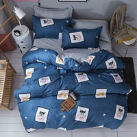 Wholesale blue double bedding sets online - Microfine Cartoon Dog Bedding Set Bed Linen for Girls Pillowcases Bed Covers New Year Bedding Double