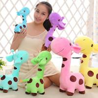 ingrosso bambola rosa giraffa-Giraffa rosa peluche da collezione giocattoli di peluche cuscino decorazione auto carino regali di san valentino giocattoli caldi bambole fidanzata compleanno