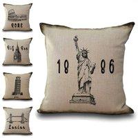 ingrosso ben cotone-Firma Liberty Statue Big Ben Pisa Federa per cuscino in lino cotone Tiro quadrato Federa decorativa Drop Ship 300734