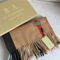 фирменный платок оптовых-Зимний шарф кашемировый платок классический плед с принтом марки платок, модные толстые шерстяные шали женские платки 200 * 70см